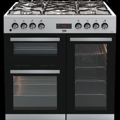 beko kdvf90x dual-fuel 90cm range cooker
